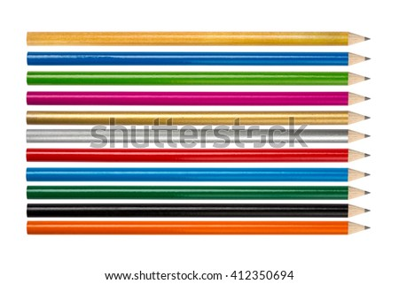 set colored pencils. isolated on white background - stock photo