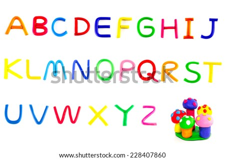 Set Colorful Alphabet made from clay plasticine isolated on white to create your own message. - stock photo