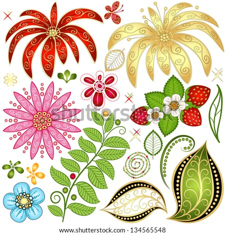 Set colorful floral design elements isolated on white
