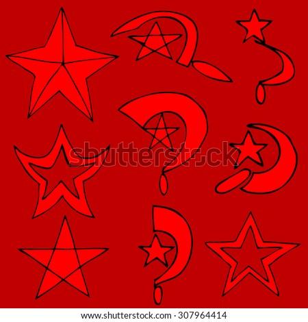 Set communist symbols - stock photo