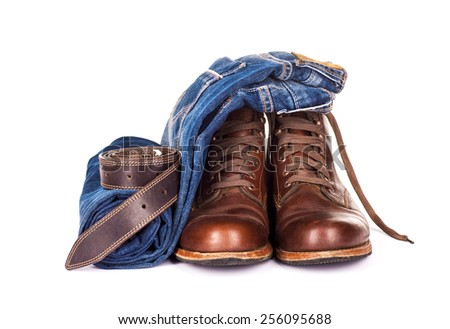 set consisting of jeans on a white background