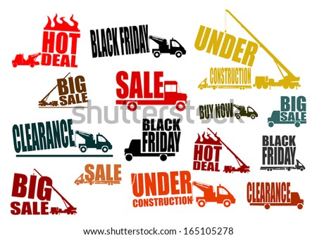 Set construction vehicles with business slogans. Easy to use in any project. - stock photo