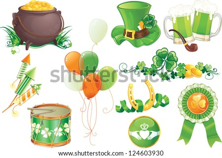 Set contains symbols of St.Patrick's Day. - stock photo