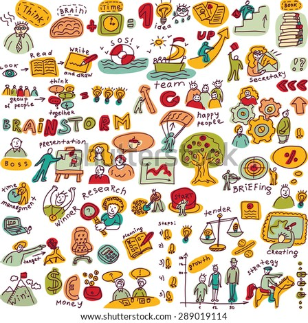 Set creative people color objects and icons isolated Big set with creative people, symbols and icons. Every object is separated. Color illustration. - stock photo