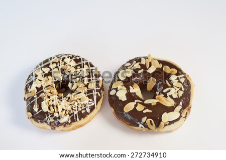 Set delicious Donuts on white background - stock photo