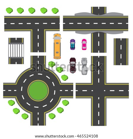 Set design for a transport node. The intersections of various roads. Roundabout Circulation. Transport. Raster illustration