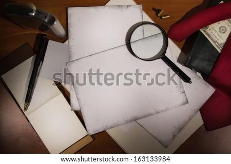 Set detective. Evidence and crime scene photos - stock photo