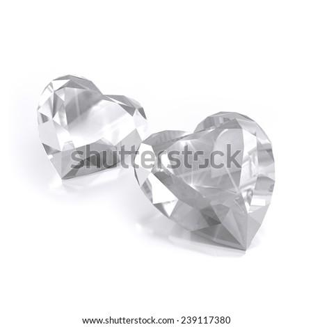 set diamond heart shape, isolated - stock photo