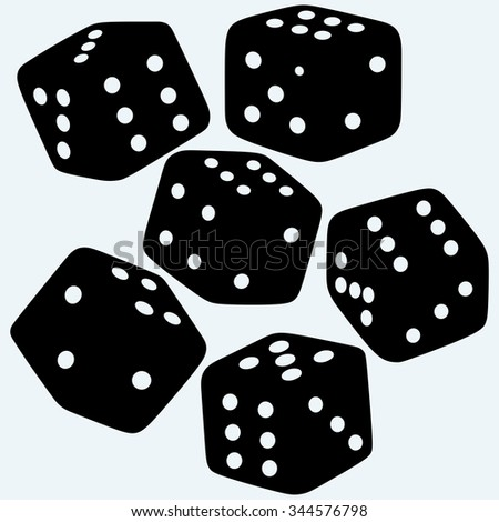 Set dices. Isolated on blue background. Raster silhouettes