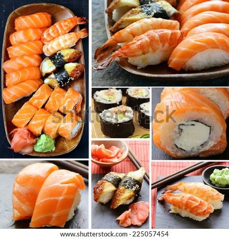 Set different kinds of Japanese sushi and rolls - stock photo