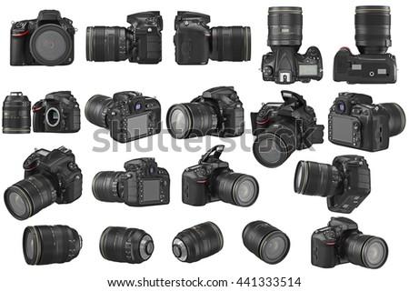 Set digital DSLR photo camera professional. 3D graphic - stock photo