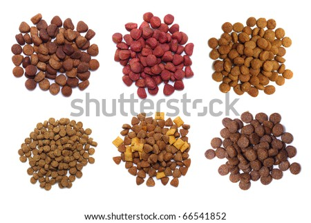 Set dry food for dogs isolated on white background. - stock photo