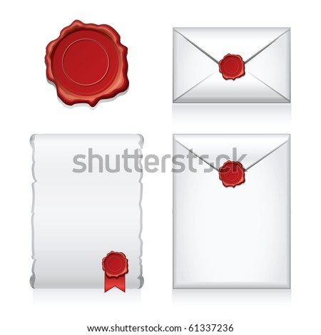 Set  e-mail, envelop icons with wax press.