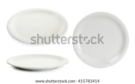 Set Empty white circle plate isolated on white background. - stock photo