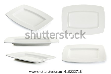 Set Empty white square plate isolated on white background. - stock photo