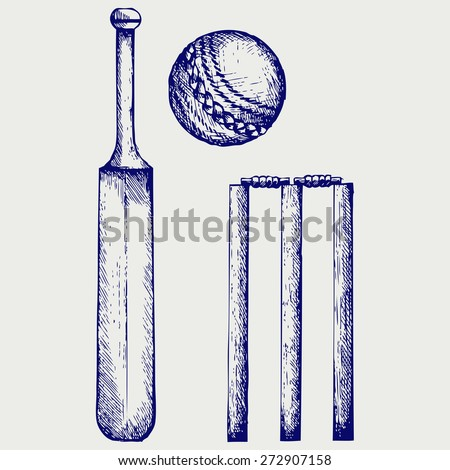 Set equipment for cricket. Cricket bat and ball. Doodle style. Raster version - stock photo