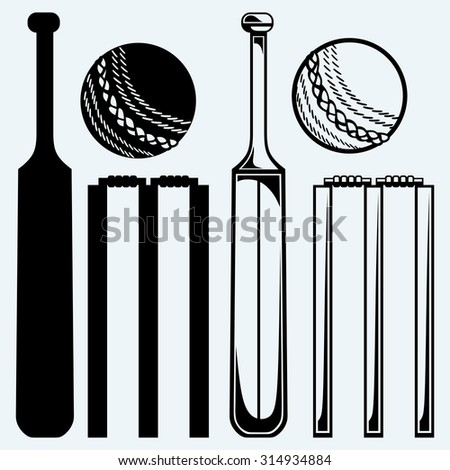 Set equipment for cricket. Cricket bat and ball. Isolated on blue background. Raster version - stock photo