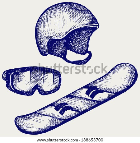 Set equipment for snowboarding. Doodle style. Raster version - stock photo