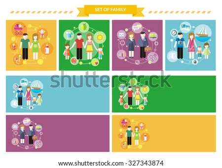 Set family concepts. Health travel buy. Buying or loan or rent car, healthy and travel, lifestyle happiness, character people parent, son and daughter illustration. Raster version - stock photo