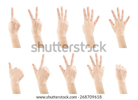 Set female hands gestures making a numbers from 0 to 9 shape isolated on white background, clipping paths