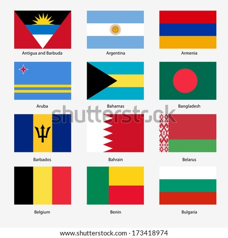 Set  Flags of world sovereign states.  illustration. Set number 2. Exact colors. Easy changes.
