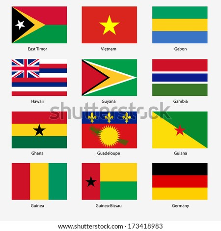 Set  Flags of world sovereign states.  illustration. Set number 4. Exact colors. Easy changes.