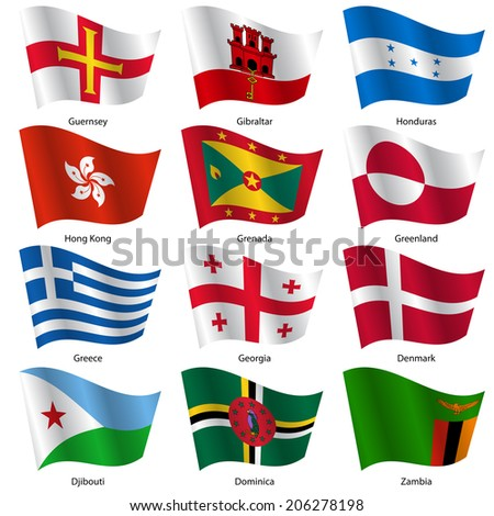 Set  Flags of world sovereign states.  illustration. Set number 5. Exact colors. Easy changes. - stock photo