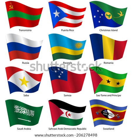 Set  Flags of world sovereign states.  illustration. Set number 13. Exact colors. Easy changes.
