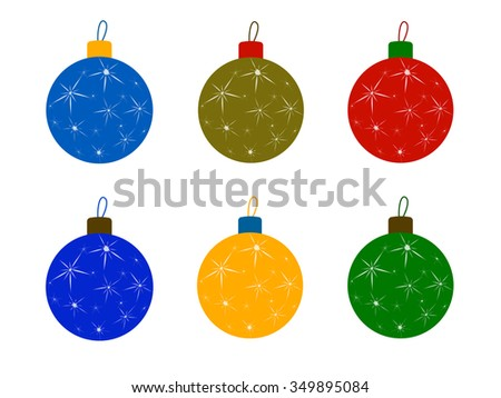 Set flat Christmas tree colored balls. Christmas decoration, New Year toys balls, christmas ornaments, celebration and holiday, ornament xmas, sphere bauble, decor bright, decorative. Raster version - stock photo
