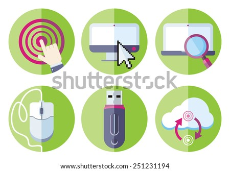 Set flat design icons information resource devices with desktop computer, laptop, link, mouse, usb flash drive, cloud storage in circle green frames on white background. Raster version - stock photo