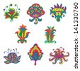 Set flowers colorful icon isolated - raster version - stock photo