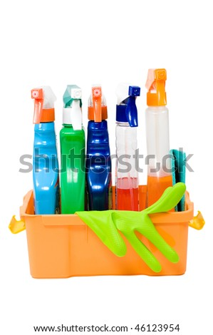 Set for cleaning and rubber gloves in the container on a white background.