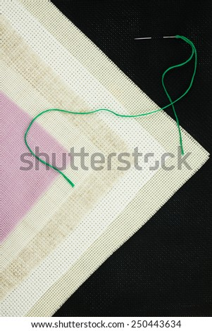 Set for cross stitch. Canvas.  - stock photo