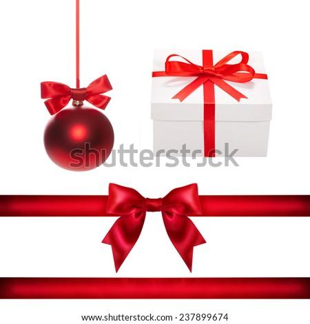 Set for design. Red Christmas ball, ribbon, bow, gift box - stock photo