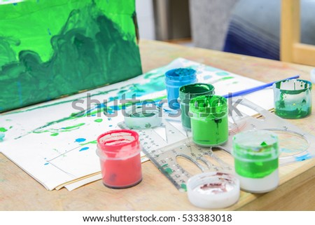 set for drawing on a table