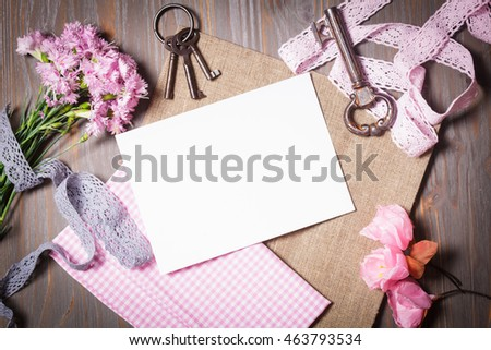 Set for handmade - old keys, flowers, fabric, lace and empty tag