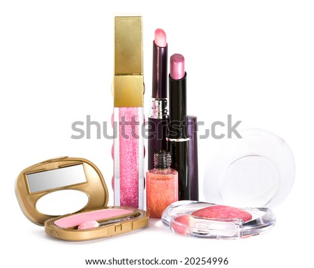 set for make-up, eyeshadows and lipstick - stock photo