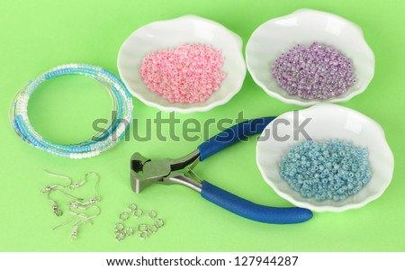 Set for needlework on green background