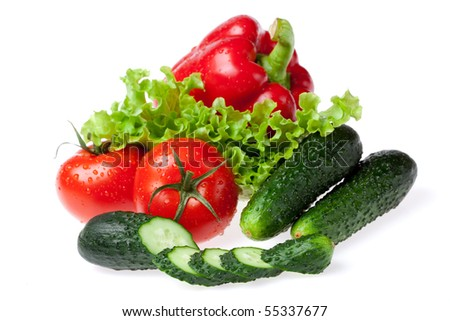 set for salad on white background