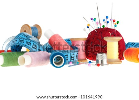 Set for sewing isolated on white background - stock photo