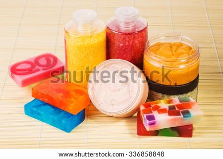 Set for spa. Handmade soap. salt and foam bath - stock photo