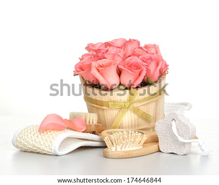 Set for spa with pink rose  - stock photo