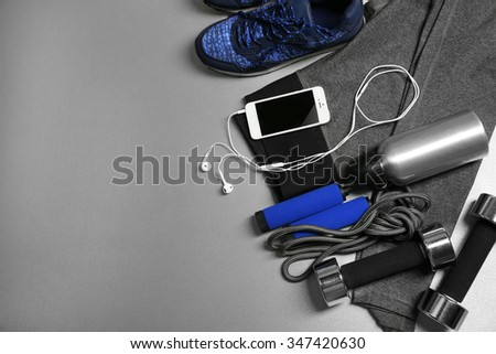 Set for sports on gray background  - stock photo