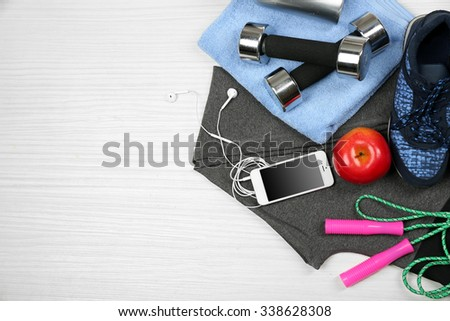Set for sports on light background  - stock photo