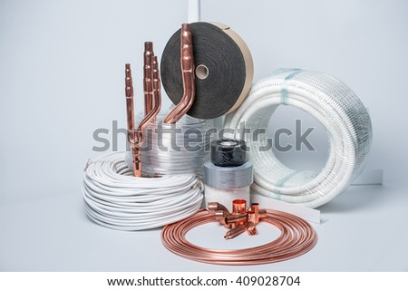 Set for the installation of air conditioning on a white background - stock photo