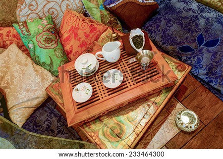 Set for the tea ceremony in the interior