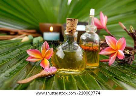 Set for tropical spa and palm leaf texture - stock photo