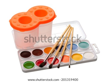 Set for watercolors painting, isolated on white background  - stock photo