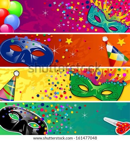 Set four banners vector carnival masks with horns ideal for parties - stock photo