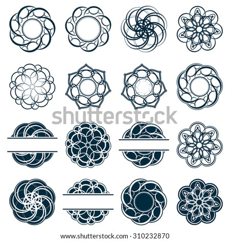 Set fractal and swirl shape element. Vintage monochrome different objects. Raster decorative sample. Diaphragm, border, outline blue color in white background - stock photo